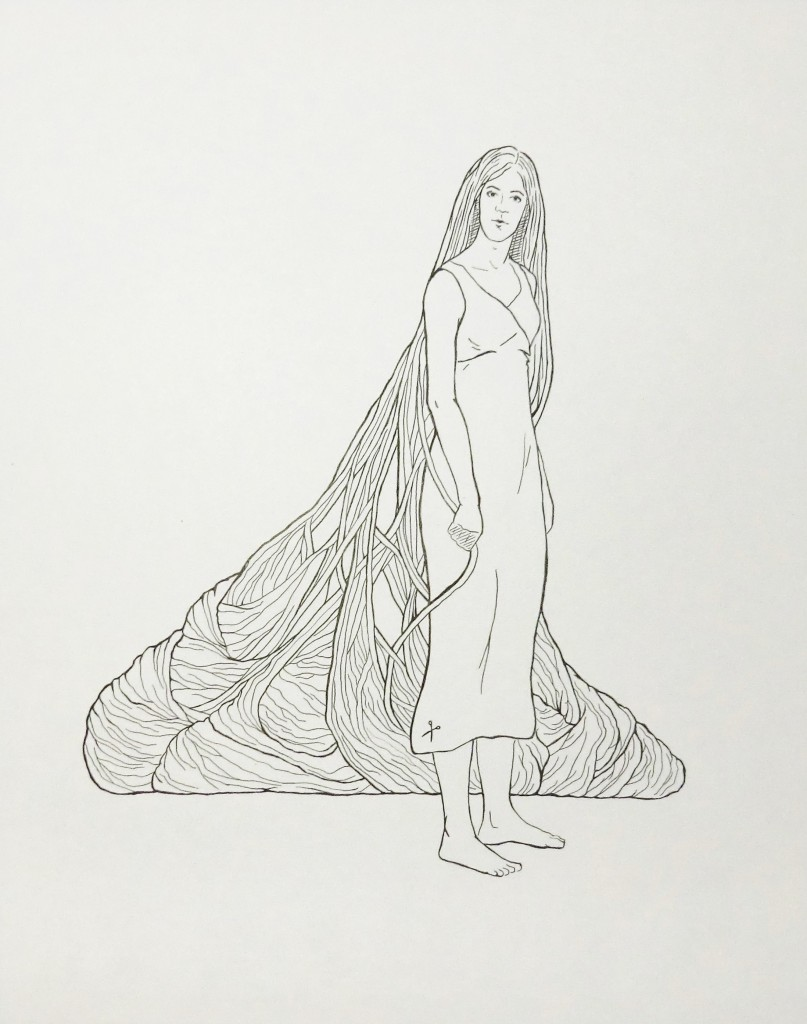 Drawing-Girl with Burdens in her Hair